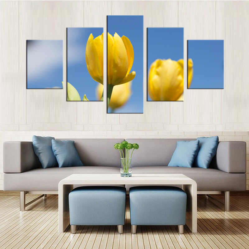 5 pieces/set Canvas Wall Art Panel HD Printed Yellow Flower Painting Canvas Print Home Decor Print Poster Picture Canvas