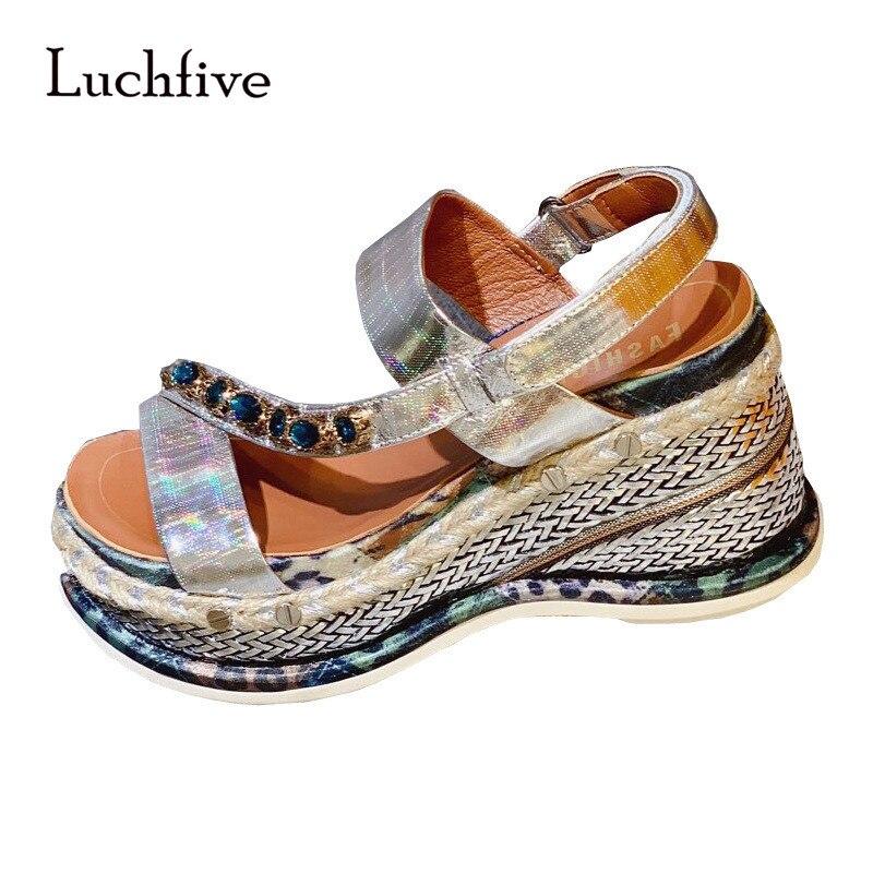 Metallic Gold Silver Chunky Sole Wedge Sandals High Heel Braid Platform Gladiator Shoes Summer Crystal Sandalias