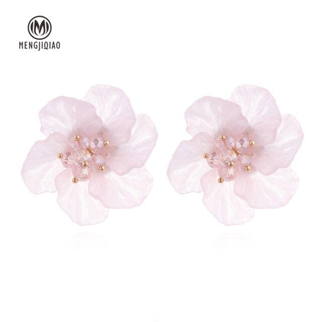 MENGJIQIAO 2018 New Statement Shell Acrylic Big Flower Stud Earrings For Women E