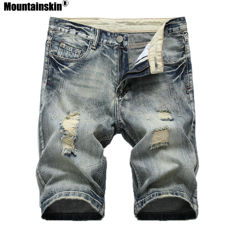 Mountainskin Summer New Men's Denim Shorts Men's Hole   Jeans   Pop Streetwear Male   Jeans   Mid Slim Solid Color Brand   Jeans   SA463