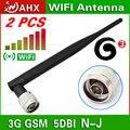 2 unids 3 G GSM N macho 5 dbi 800 - 2100 M omnidireccional de alta ganancia de la antena teléfono celular amplificador de señal antennatwork tarjeta bore antena