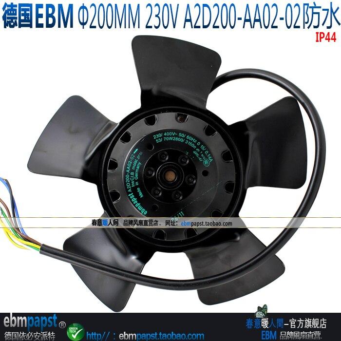 The new German ebmpapst A2D200-AA02-02 230V / 400V motor fan ebmpapst a6e450 ap02 01 ac 230v 0 79a 0 96a 160w 220w 450x450mm server round fan outer rotor fan