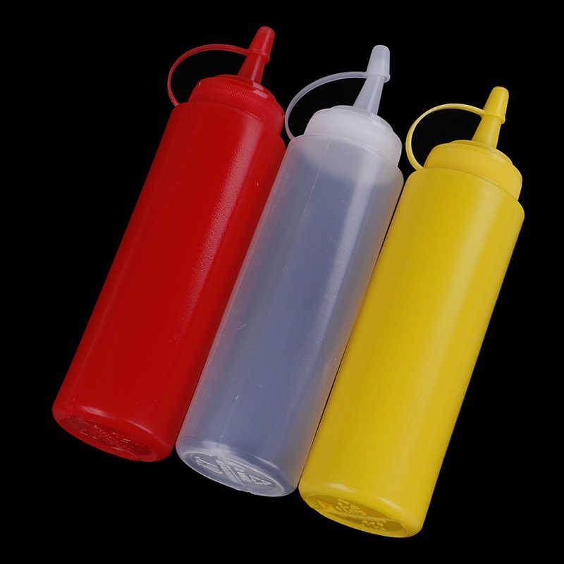 プラスチックスクイーズボトルディスペンサー 8 オンス醤油酢オイルケチャップ Cookling ツールキッチンアクセサリー