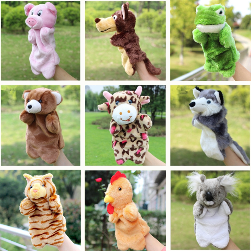 Animal Hand Dukketeppe Leketøy Hanske Fingerdukker Plysj Leker For Hånddukke Gris Katt Monkey Dog Rabbit Wolf Bear
