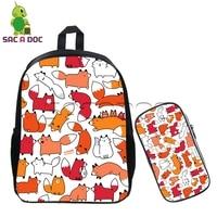 Cute Animal Doodles Harajuku Backpack 2 Pcs Sets Children School Bags Kawaii Corgi Foxes Boys Girls Backpack Students Bookbag