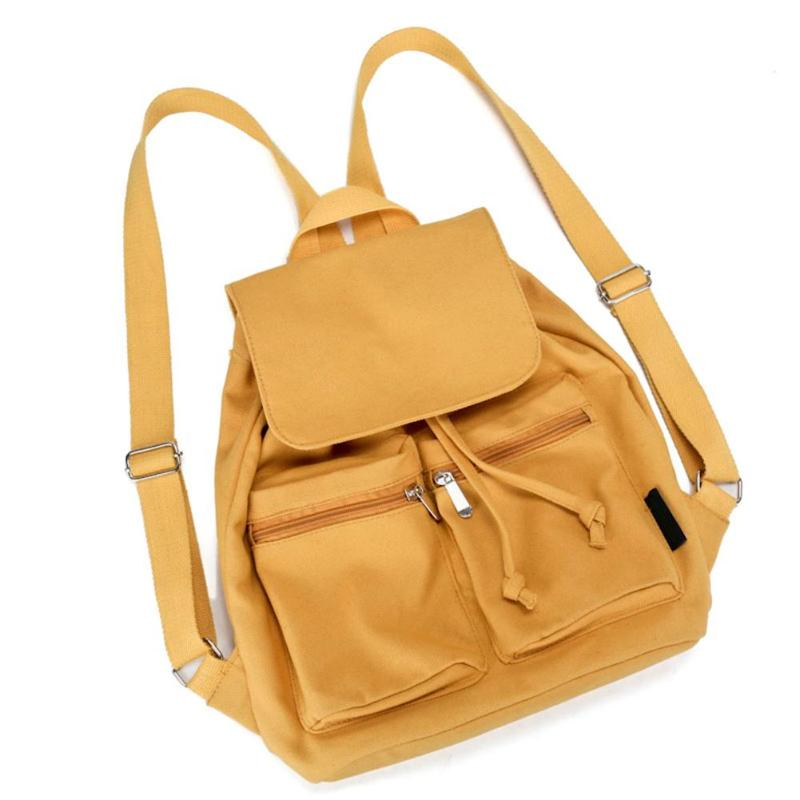 Ladies Fashion Canvas Backpack Female Casual Portable Rucksack School Bag for Teenager Girls Simple Pure Color Backpacks Mochila vintage casual small women printing backpack ladies casual preppy style school bag teenager girls female travel rucksack mochila