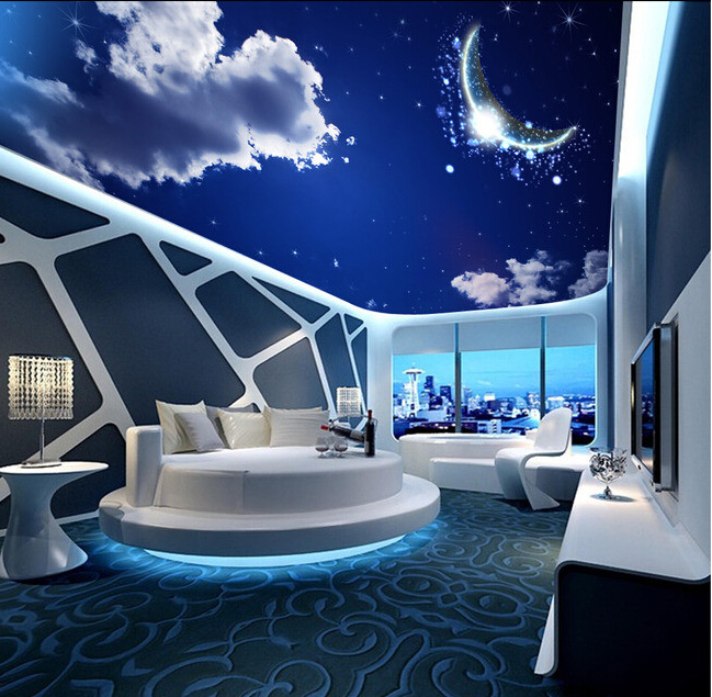 Custom papel DE parede 3 d,fantasy star moon for the living room bedroom ceiling wall waterproof wallpaper custom 3d ceiling photo wave dolphin 3d ceiling murals wallpaper home decor wallpaper on the ceiling papel de parede