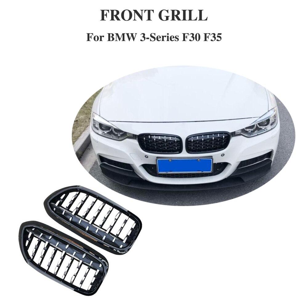Une paire de calandre avant Style voiture pour BMW nouvelle série 3 F30 F35 2014-2018 calandre diamant Style météore Grille de pare-chocs avant