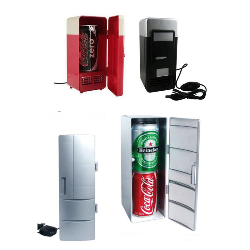 1pcs Mini USB Gadget Desktop Small/Big Size Beverage Cans Cooler Warmer Refrigerator Fridge w/ Internal LED Light USB Fridge