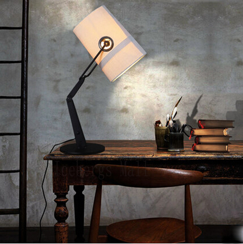 Modern Italy Fork Folding Table Lamp Linen Cloth Lamp Shade Table Light For Bedroom Living room Study Lampara de mesa para