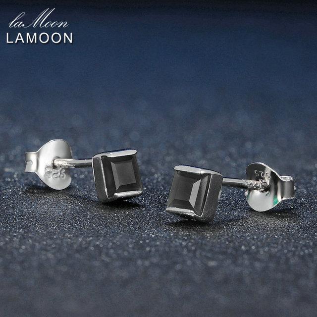 Lamoon 4mm 0.6x2 ct Calcedonio Verde Naturale 925 Sterling Silver Semplice Orecchini con perno Gioielli S925 Per Le Donne LMEI028