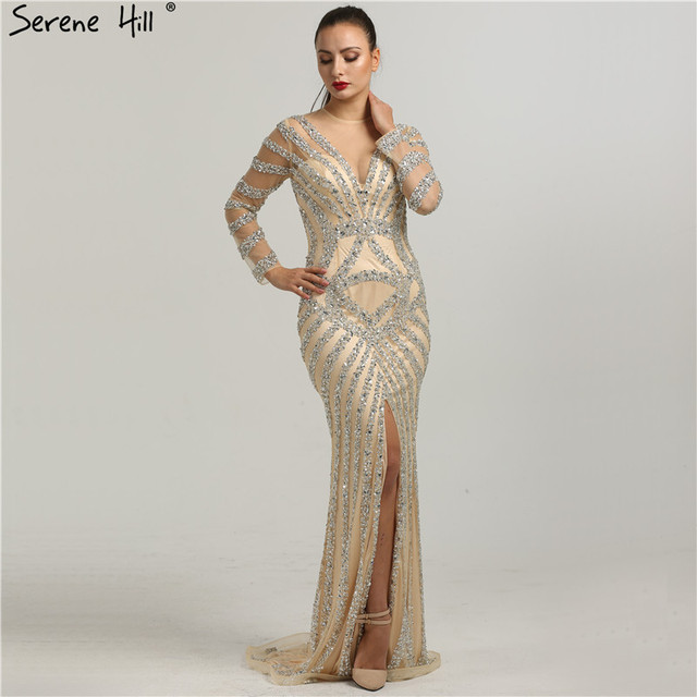 Latest Evening Gown Designs Long Sleeves Mermaid Beading Sequined ...