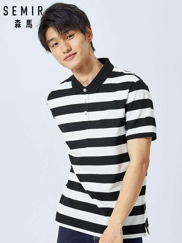 SEMIR nouveau été à manches courtes polo chemise hommes marque vêtements décontracté imprimé hommes chemise coton stretch chemise homme