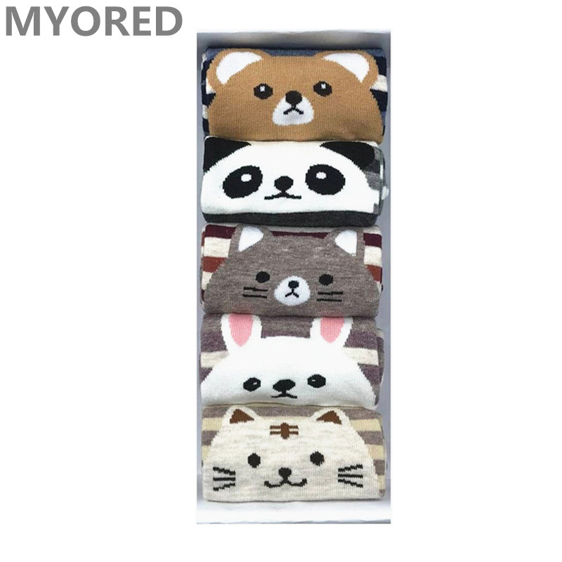 MYORED 5 pairs/lot female socks cotton funny short socks cute girls socks cartoon animal women cute socks Calcetines NO BOX ...