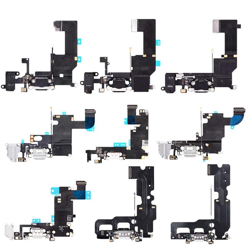 Para o iphone 5 5c 5S 6 6s 6 mais 6s mais 7 carregador de carregamento porto doca usb conector dados cabo flexível fone de ouvido jack flex fita