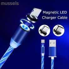 Flow Luminous Lighting Magnetic USB Cable For Samsung Galaxy S10 Plus Huawei P20 P30 Pro Type C Fast Magnet Charger Charging