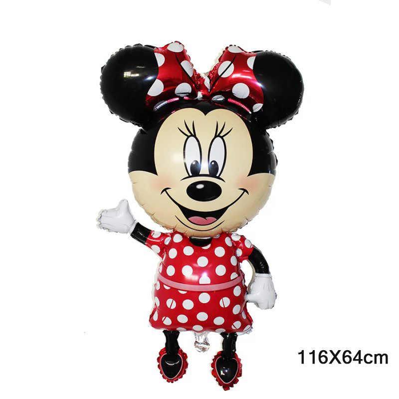 1 piezas tamaños grandes Mickey Minnie Mouse globos de papel de aluminio de dibujos animados decoraciones de fiesta de cumpleaños de los niños bebé ducha partido globo bola Juguetes