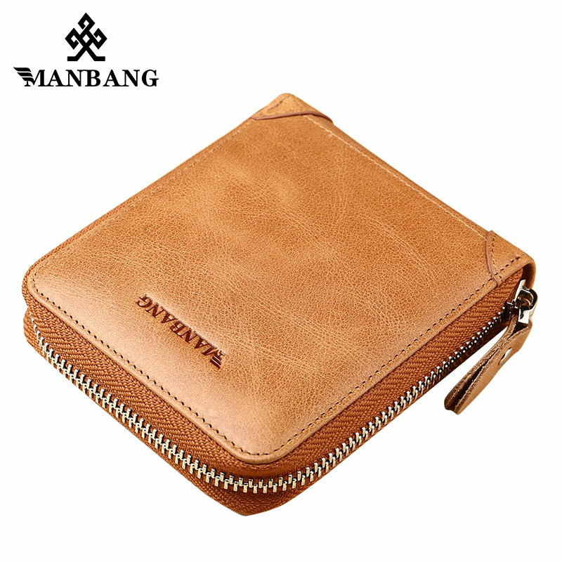 ManBang Men Wallets Genuine Leather Short Coin Purse Small Vintage Walet Men's Purse Zipper Cion Pocket Card Holder Men Wallets falan mule genuine leather men wallets short coin purse small vintage men s wallet cowhide leather card holder pocket purse