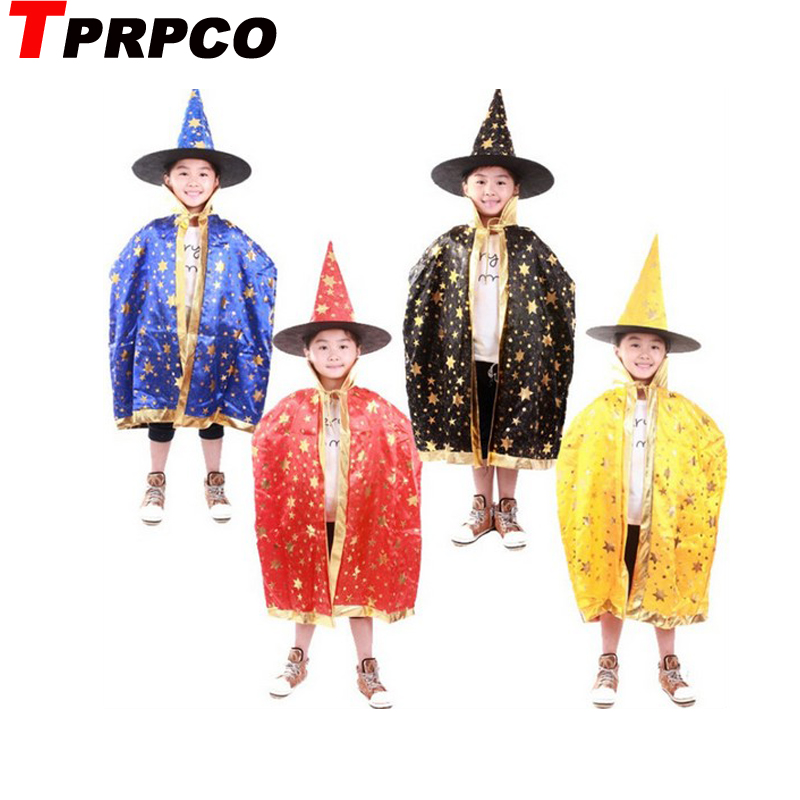 TPRPCO Boy Girl Kids Children Halloween Costumes Witch Wizard Cloak Gown Robe and Hat Cap Stars Fancy Cosplay for Boys Girls 739