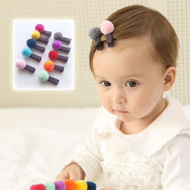 2pcs/lot Girls hair accessories New Design Plush ball hairpin Lovely BB clips for kids Rainbow Colors hair clip hair ornaments