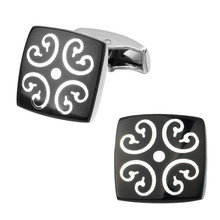 Men's shirts Cufflinks high-quality copper material Black Square Flower Cufflinks 2 pairs of packaging for sale
