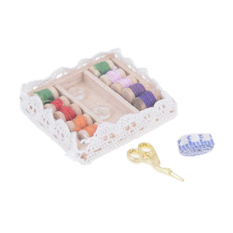 1:12 Caixa De Costura com Agulha Tesoura Kit Casa De Bonecas Em Miniatura Do Vintage Acessórios de Decoração Mobiliário Brinquedos Crianças Decoração De Casa de Bonecas