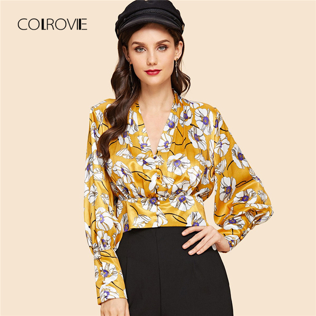 4ab20920ff8a COLROVIE Yellow Floral Print Elegant Crop Feminine Blouse Shirt 2018 Sexy  Vintage Long Sleeve Blouse Women Tops And Blouses