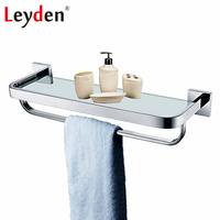 Leyden Stainless Steel Wall Mounted Glass Shelf Storage with Towel Bar Rack Holder Polished Chrome Finish Bathroom Accessories