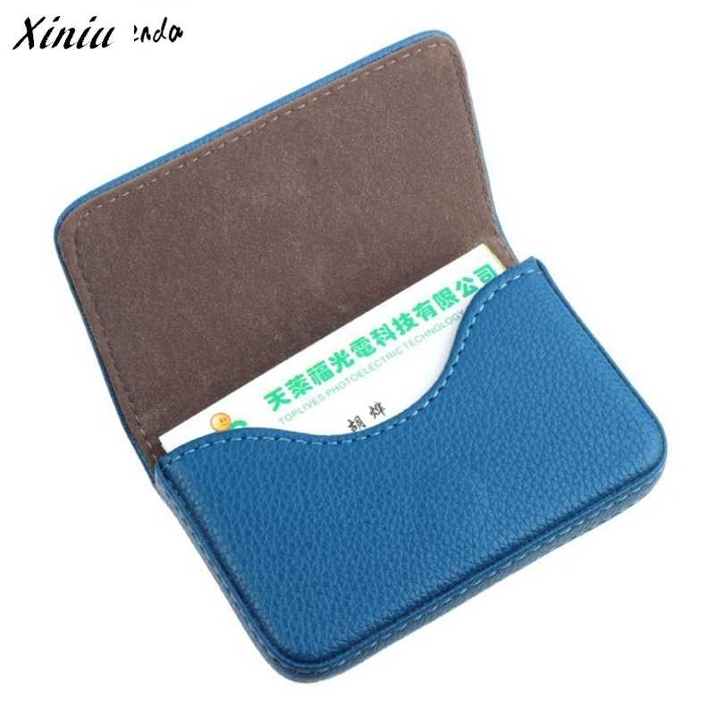 Xiniu Pocket Leather Card Case Exquisite Magnetic Attractive Name Card Case Business Card Box Holder porte carte #0