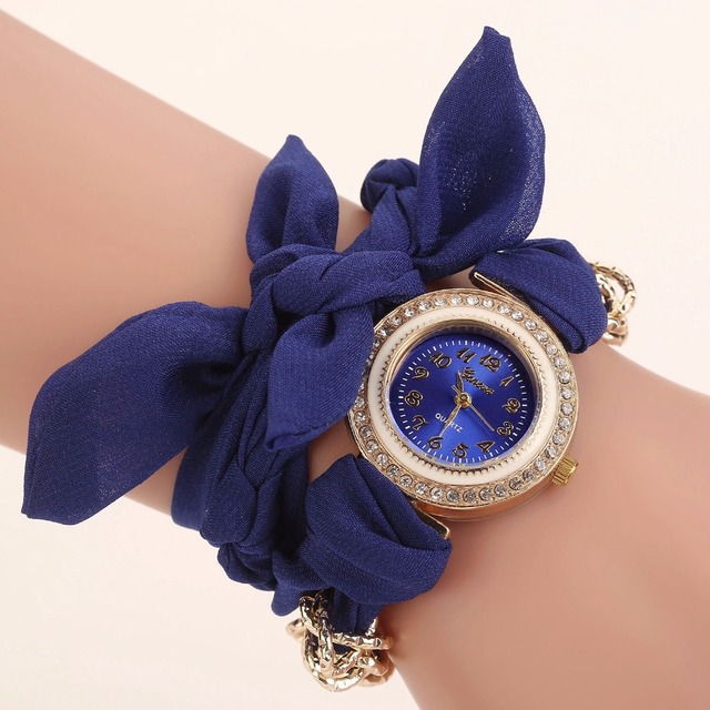 2017 Design Ladies flower cloth wristwatch fashion women dress watch high quality fabric watch sweet girls watch Montre Femme