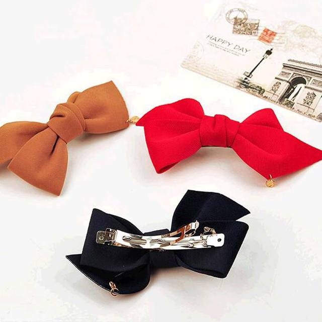 2016 New Arrival Big Solid Cloth Bows Hair Clips Hairpins Hair Accessories for Women Girl Wedding Hair Jewelry Free shipping 4