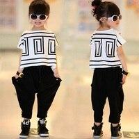 For 110 150cm Toddler Big Girls Clothing Set 2pcs Kids Clothes Short Sleeve T Shirt