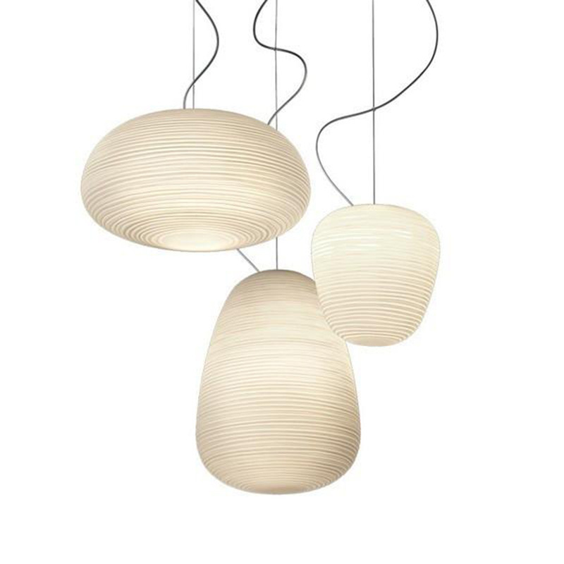 Nordic Creative White Glass Whorls Hanging Lamp Foscarini RITUAL E27 Pendant Light For Dining Room Living Room Bar Restaurant