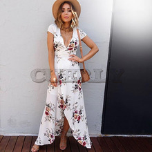 CUERLY 2019 White Women Floral Print Beach Dress Fashion Boho Summer Dresses Ladies Vintage V-neck Split Party Vestidos