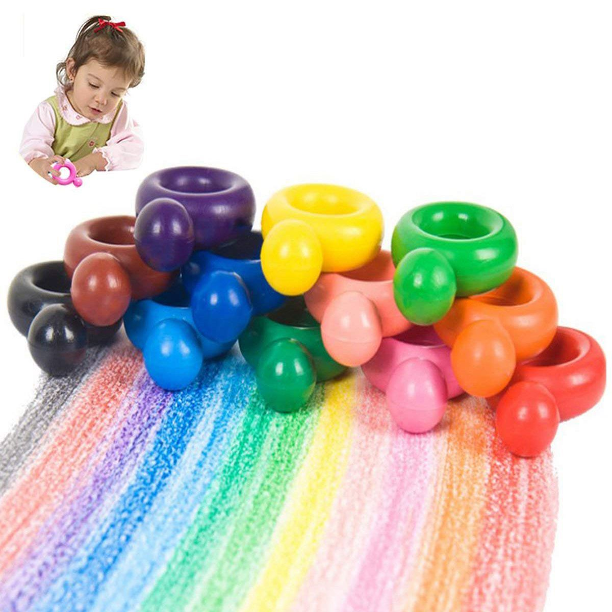 12 Color Ring Crayons For Toddler Baby Kids Washable Safe Palm-Grip Wax Crayons Painting Drawing Tool Toys School Art Supply