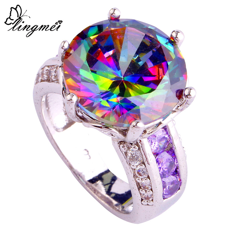 lingmei Wholesale Fashion New Jewelry Noble Rainbow & White CZ Purple Silver Color Ring Size 6 7 8 9 10 11 12 Free Shipping