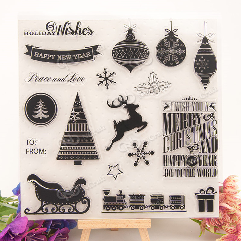 DIY chirstmas Clear Stamp Scrapbook DIY photo album card hand account chapters rubber product transparent seal stamp T0002 lovely animals and ballon design transparent clear silicone stamp for diy scrapbooking photo album clear stamp cl 278