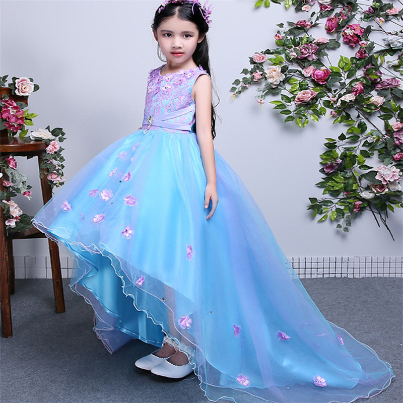 2018 Summer Luxury Children S Birthday Wedding Party Long Tail Dress Kids Babies Evening Pageant Princess Lace Short In Dresses From Mother
