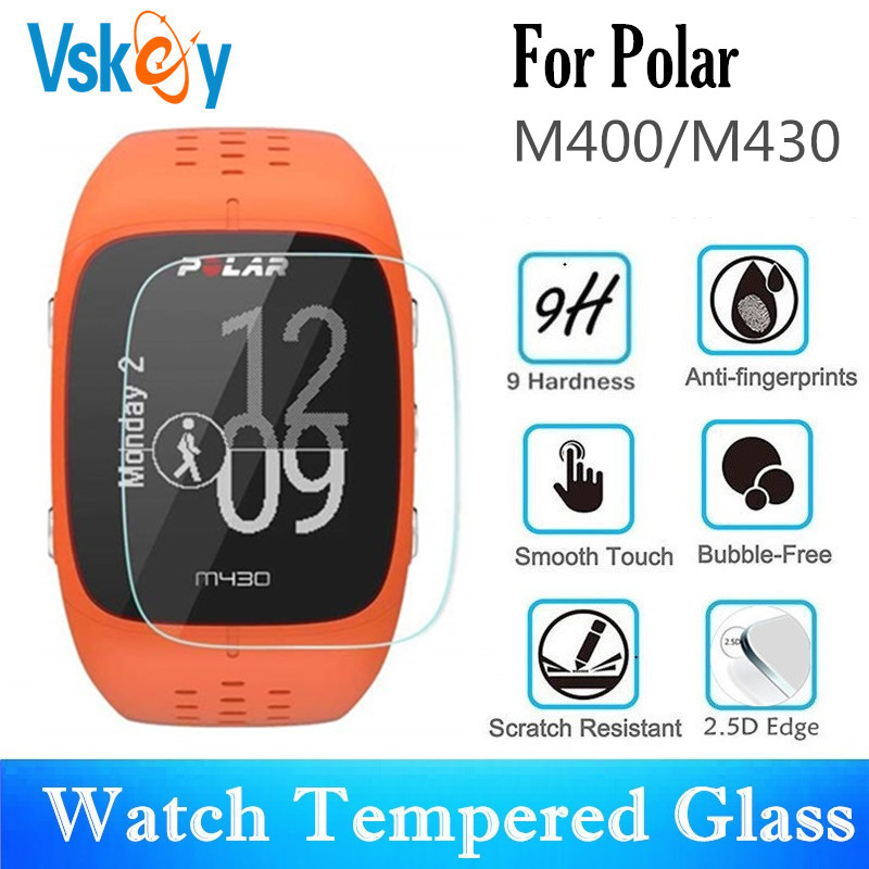 VSKEY 100PCS Tempered Glass for Polar M430 Screen Protector for Polar M400 Sport Smart Watch Anti