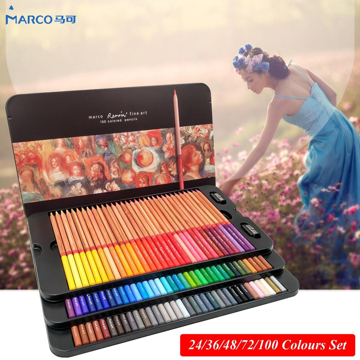 Marco Renoir 24/36/48/72/100 สีของศิลปินชุดดินสอสีไพฑูรย์เดรมืออาชีพวาดดินสอสีสำหรับการวาดภาพ
