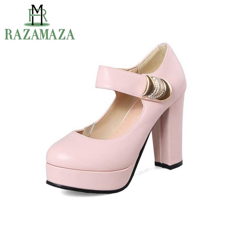 blanco Razamaza Thich Boda Color Sólido Del Bombas Zapatos Redonda  Plataforma 43 Mujer Mujeres Azul Tamaño Talón 32 Toe Zapato rosado Elegante  Partido Alto ... 59aa76ade627