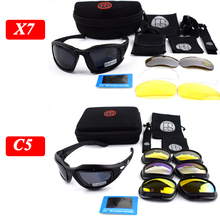 Polarized Tactical Goggles X7 C5 Army Sunglasses Military Glasses Shooting Glasses 4 Lens Kit Hiking Camping Glasses