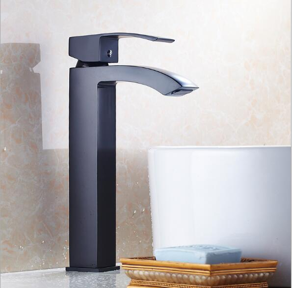 Free shipping Tall Black Waterfall Faucet Bathroom Faucet Antique Bathroom Basin Mixer Tap Luxury Hot and Cold Sink faucet free shipping tall wall mounted black painted bathroom faucet double wheel handle black bronze basin sink mixer tap b 015