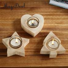 MagiDeal Natural Carved Wooden Tea Light Votive Candle Holder Wedding Xmas Birthday Holidays Christmas Halloween Decor Lights(China)