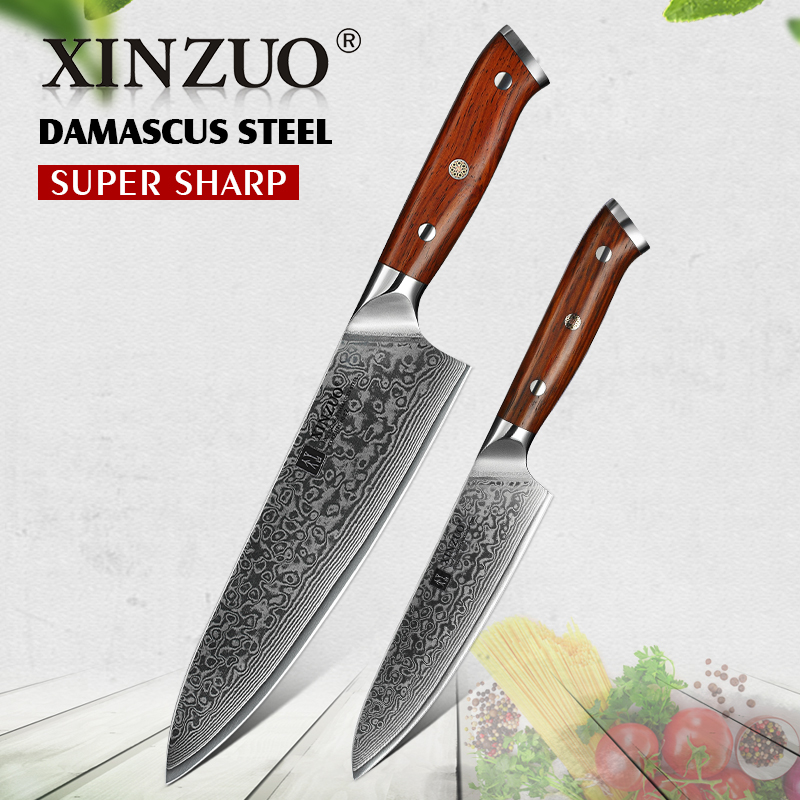 XINZUO 2PC Kitchen Chef Knife Sets Damascus Steel Professional Chef Utility Knives Stainless Steel Meat Cutter