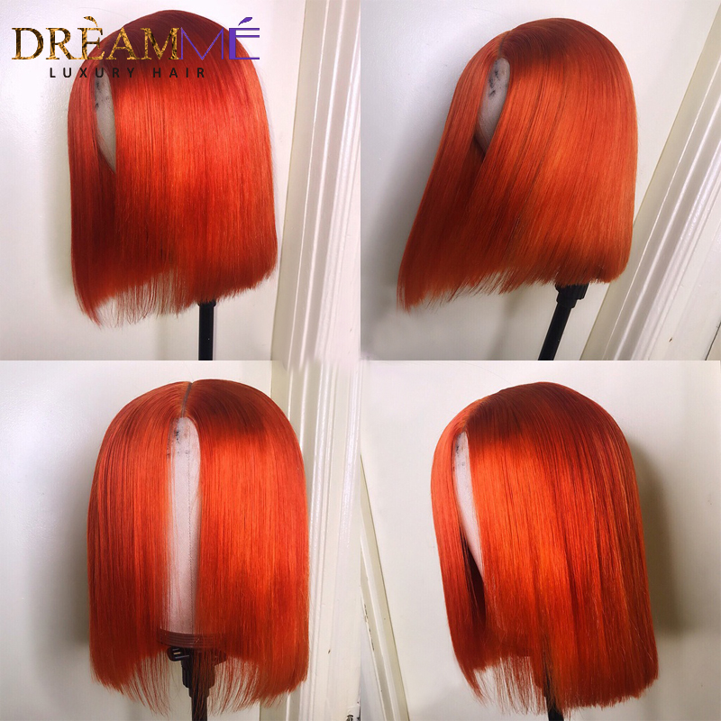 Colored Human Hair Wig Orange Bob Lace Front Wigs Short Straight Pre Plucked Remy Hair Blunt
