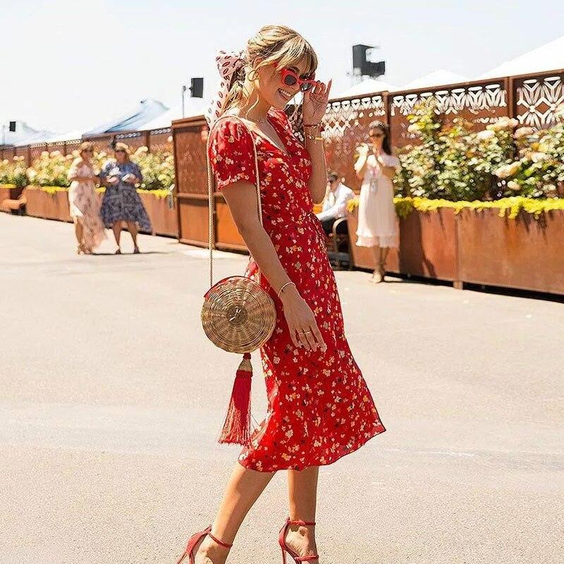 Sweet red Flower print dress trapezoidal shape Summer v-neck bow tie Separation dress 90 ...