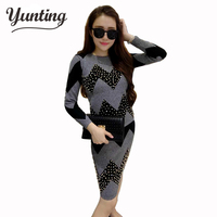 Tracksuit New 2 Piece Set Suit Skirts Winter Pullover Sweater European Waves Nail Bead Package Hip
