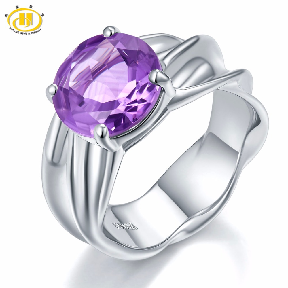 Hutang Engagement Ring 2.95Ct Natural Purple Amethyst Gemstone Solid 925 Sterling Silver Solitaire Women Fine Fashion Jewelry jewelrypalace trillion 1 1ct natural purple amethyst solitaire ring 100% 925 sterling silver women fashion jewelry big promotion