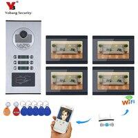 YobangSecurity 4 единицы квартира видеодомофон 7 дюймов ЖК дисплей Wi Fi беспроводной видео дверной звонок видео запись приложение управление